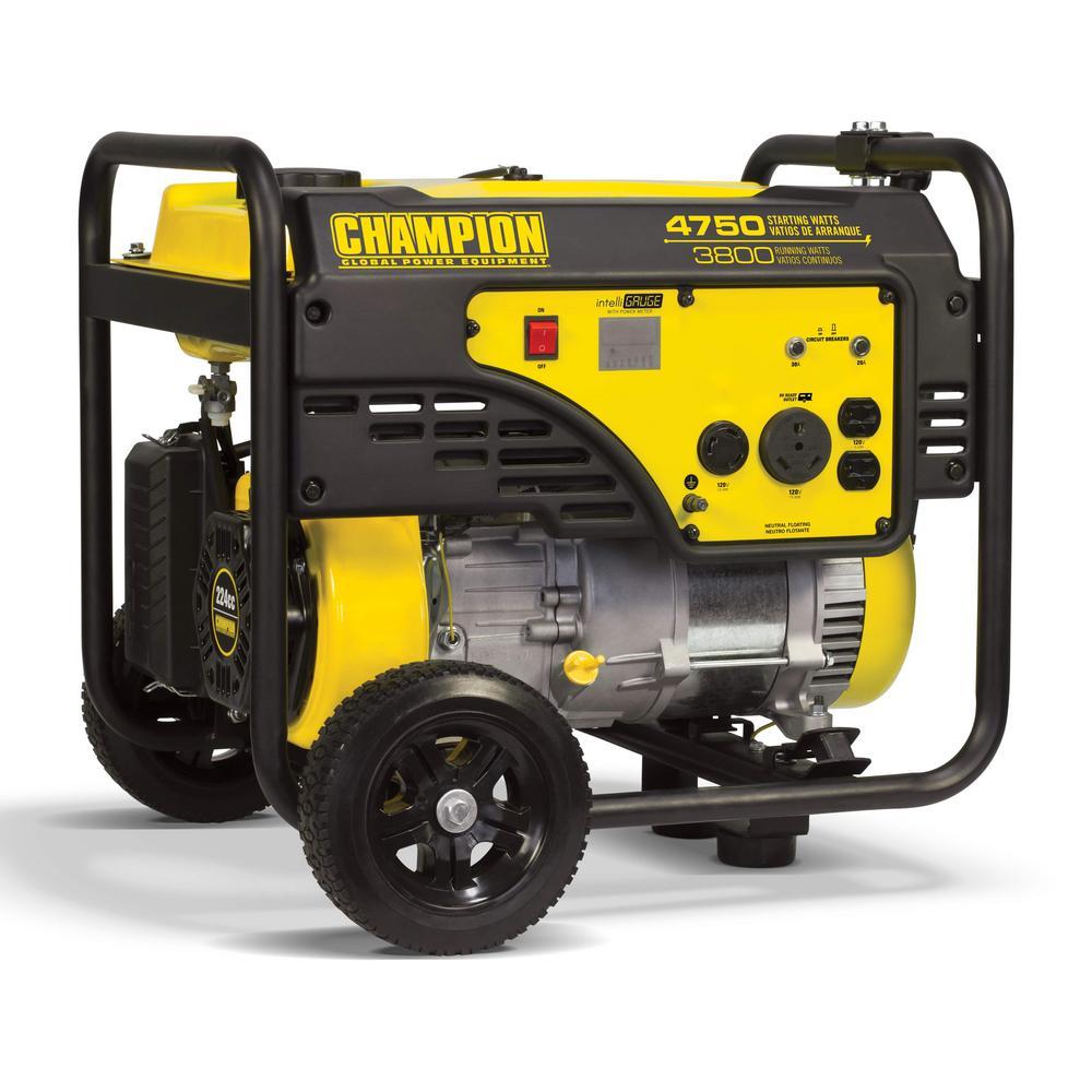 Champion Power Equipment 3,800-Watt Gasoline Powered Recoil Start RV Ready  Portable Generator