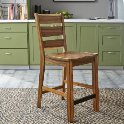 Homestyles Forest Retreat Live Teak Wood Brown High Dining Set Table 4 Stools 5185 359 The Home Depot