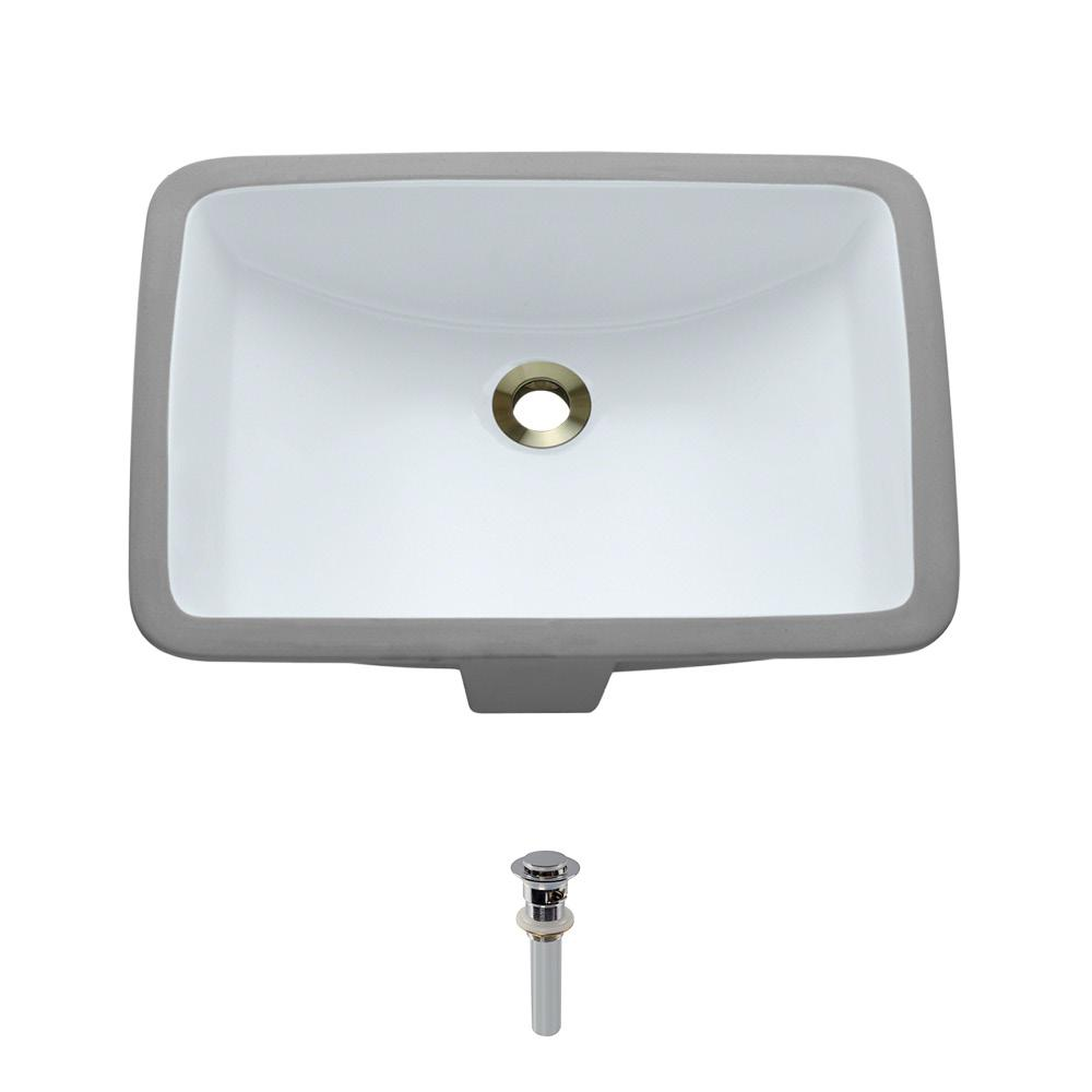 MR Direct Undermount Porcelain Bathroom Sink in White with Pop-Up Drain in Chrome