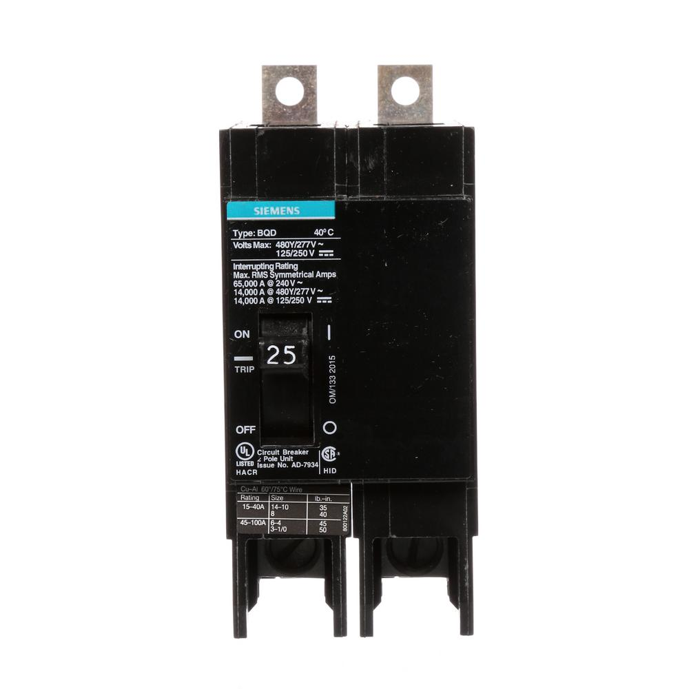 siemens 25 amp double pole type bqd bolt on circuit breaker bqd225 the home depot. Black Bedroom Furniture Sets. Home Design Ideas