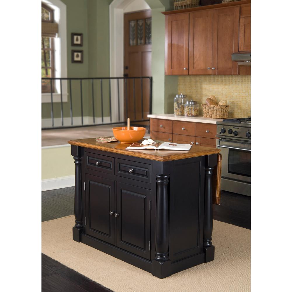 Home Styles Monarch Black and Oak Kitchen Island