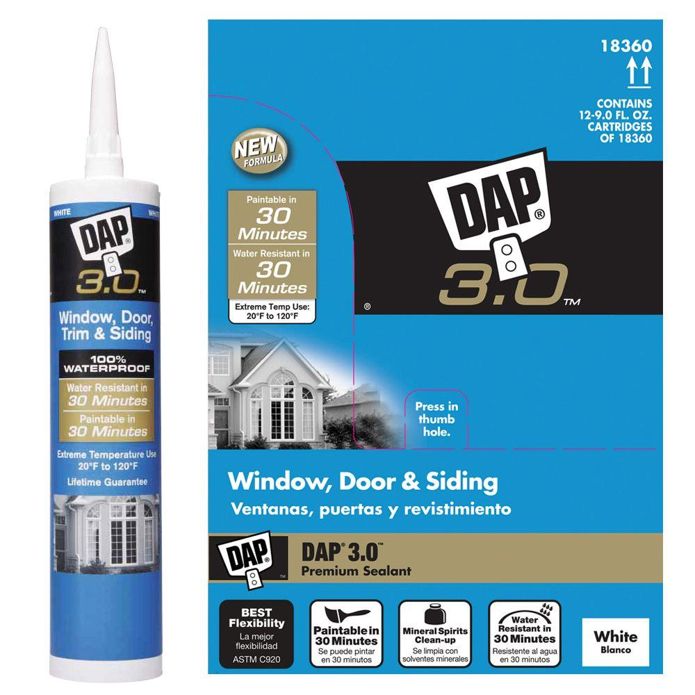 DAP 3.0 9 oz. White Window, Door, Trim & Siding High Performance Sealant (12-Pack)
