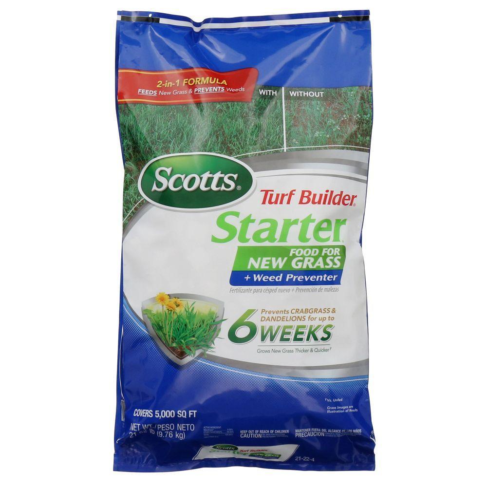 Scotts 21.5 lb. 5,000 sq. ft. Turf Builder Starter Food for New Grass Plus Weed Preventer