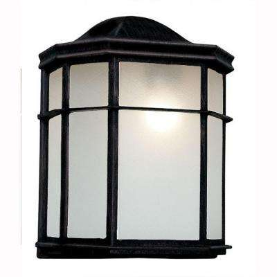 1-Light Outdoor Black Patio Wall Lantern with Frosted Acrylic