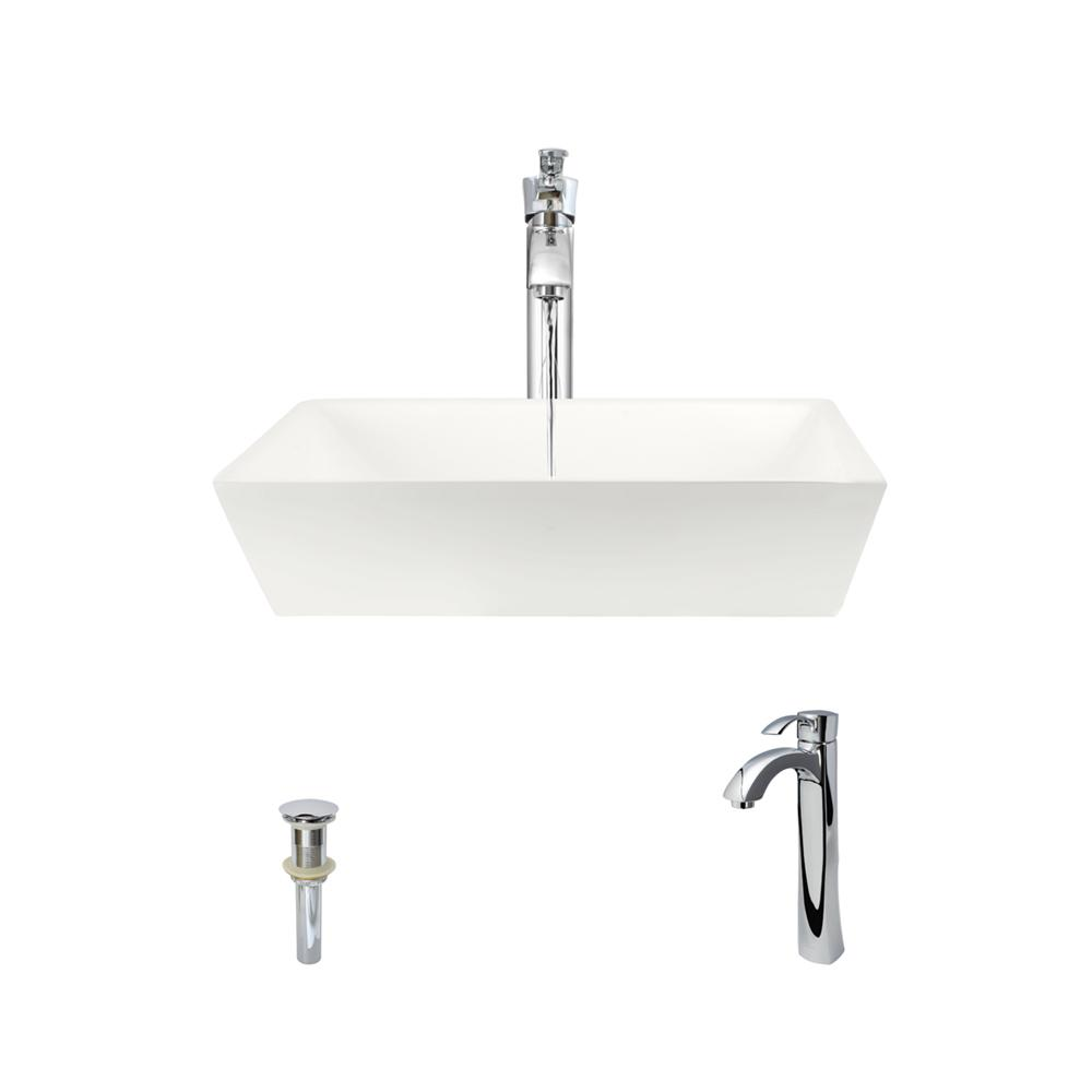MR Direct Porcelain Vessel Sink in Bisque with 726 Faucet and Pop-Up Drain  in