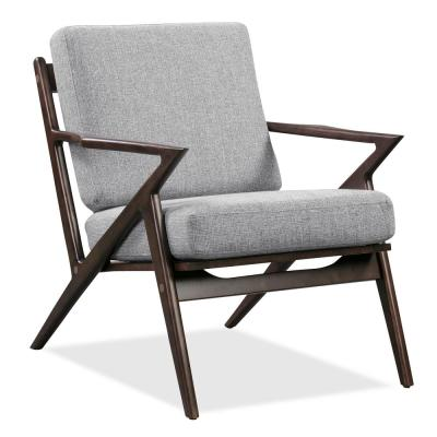 Skane Dark Walnut Lounge Chair in Light Grey