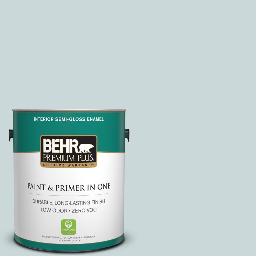 1 gal. #PPU13-16 Offshore Mist Zero VOC Semi-Gloss Enamel Interior Paint