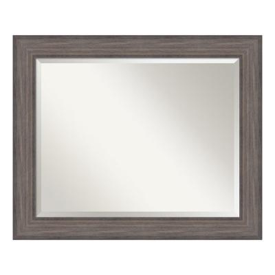 Country 34 in. W x 28 in. H Framed Rectangular Bathroom Vanity Mirror in Rustic Barnwood
