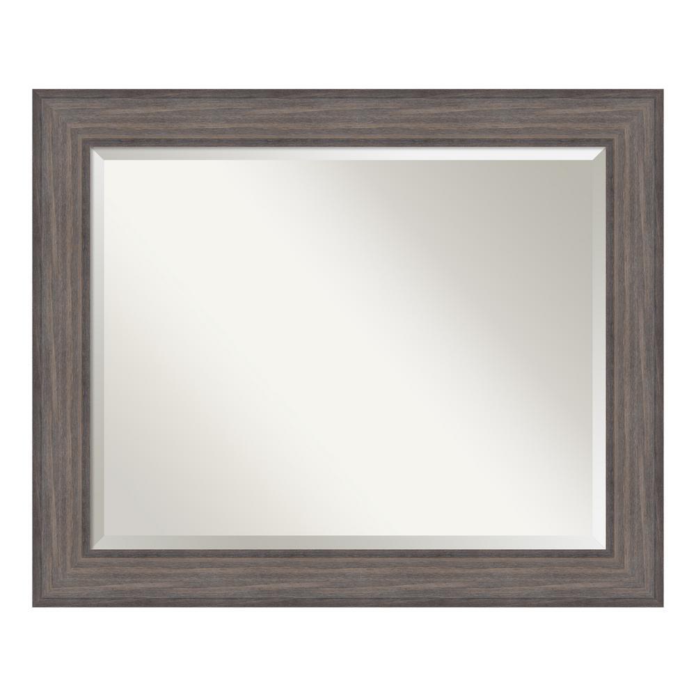 Country Barnwood Wood 34 in. W x 28 in. H Distressed Bathroom Vanity Mirror