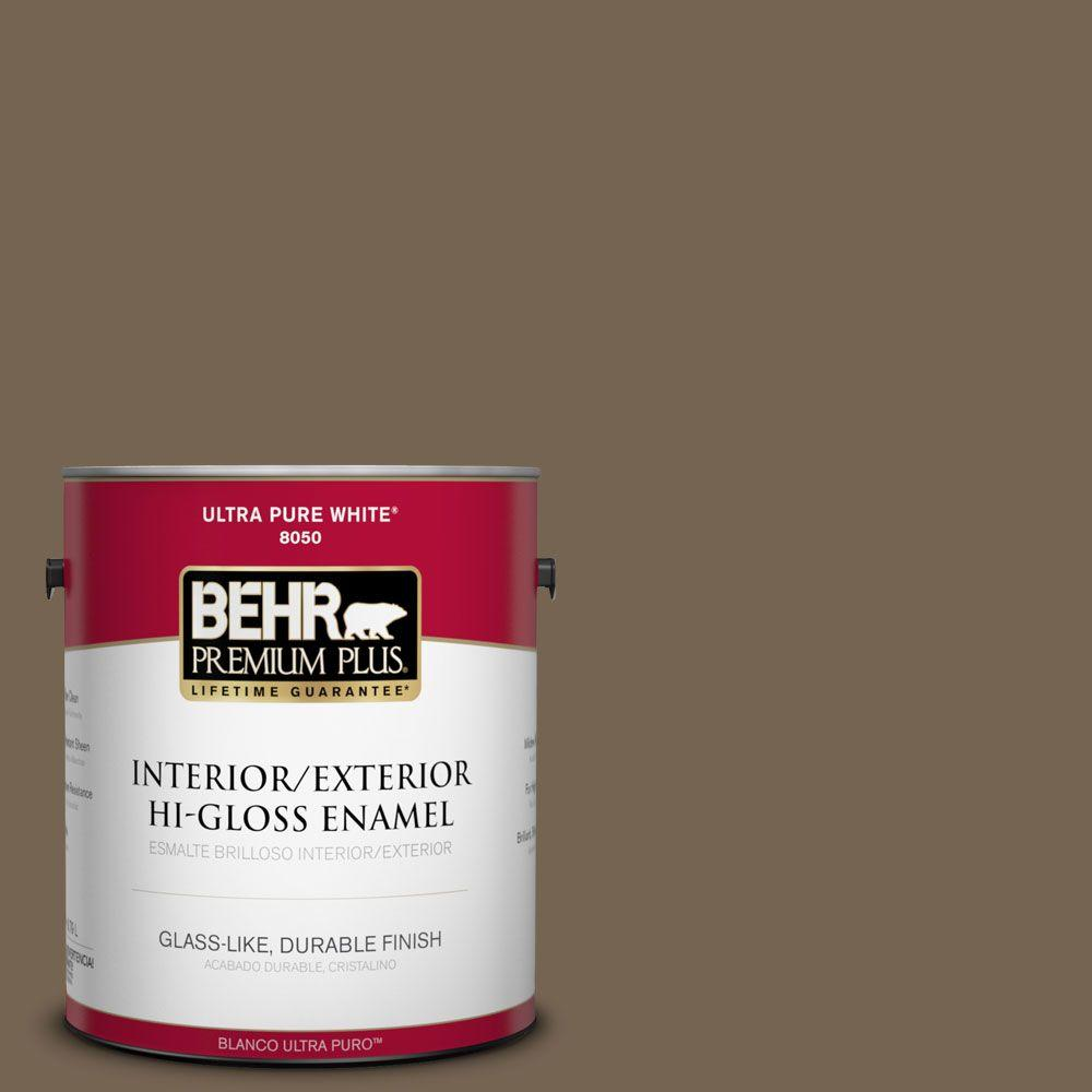 1-gal. #HDC-SM14-4 Tan Bark Trail Hi-Gloss Enamel Interior/Exterior Paint