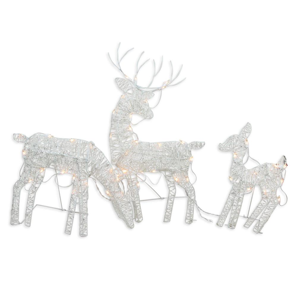 Northlight 30 in. Christmas Outdoor Decoration White Glittered Doe Fawn and Reindeer Lighted (3-Pack)