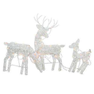 30 in. Christmas Outdoor Decoration White Glittered Doe Fawn and Reindeer Lighted (3-Pack)