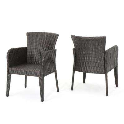 Dillon Multibrown Wicker Outdoor Dining Chair (2-Pack)