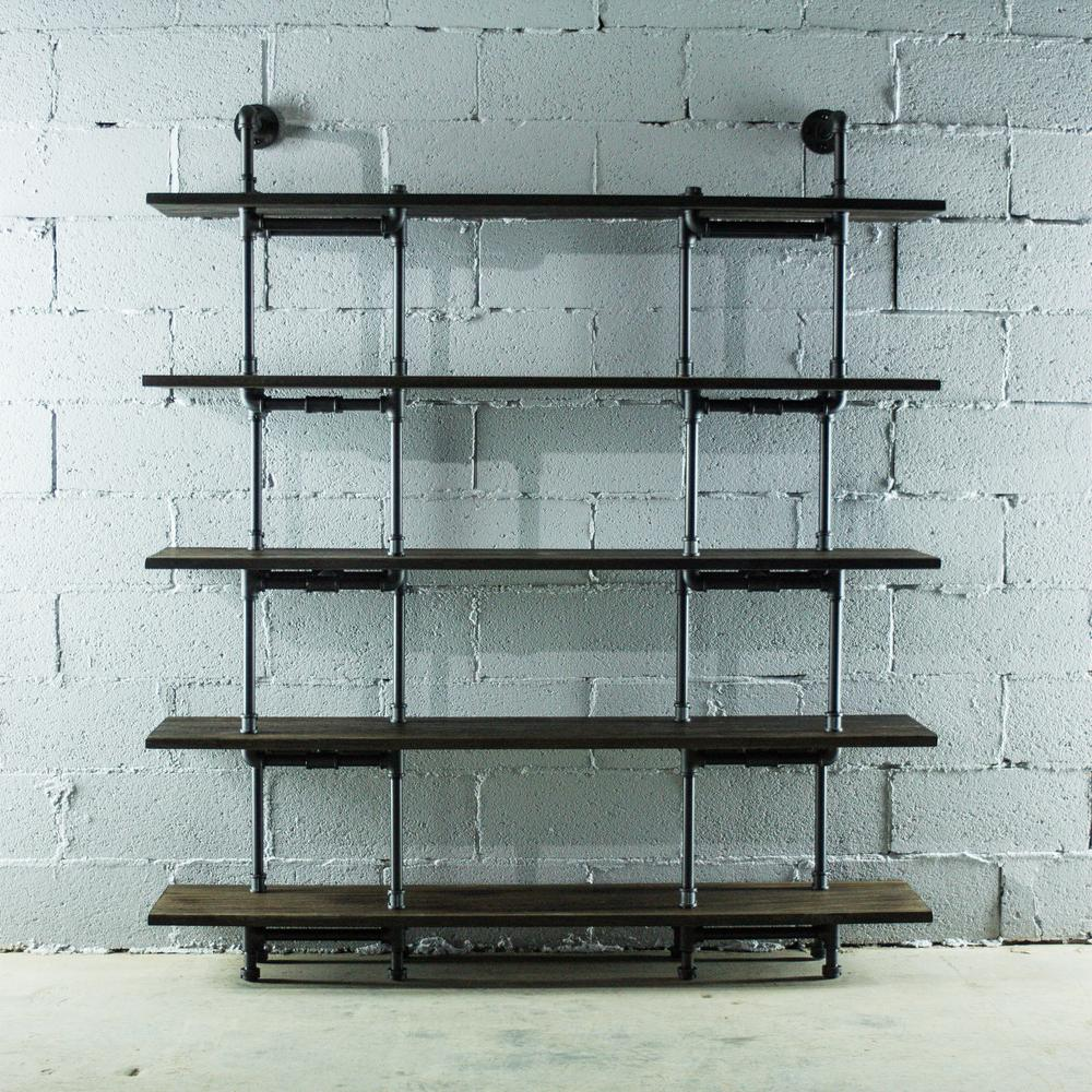 OS Home And Office Furniture Black Steel Industrial Pipe Wall Mounted  5 Shelf Bookcase With