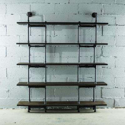 Black Steel Industrial Pipe Wall Mounted 5-Shelf Bookcase with Reclaimed-aged Wood