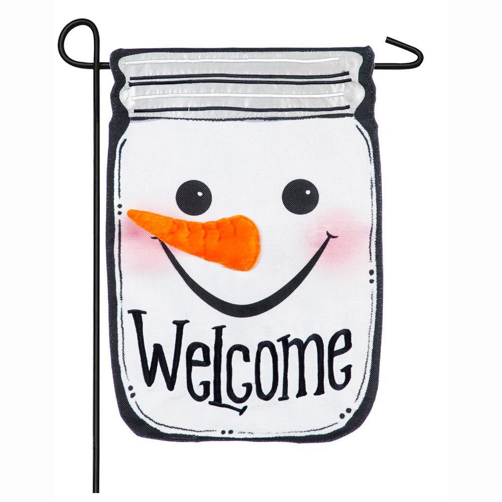 18 in. x 12.5 in. Snowman Mason Jar Garden Burlap Flag