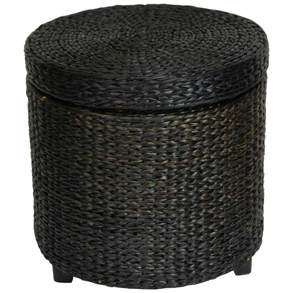 Black Storage Ottoman