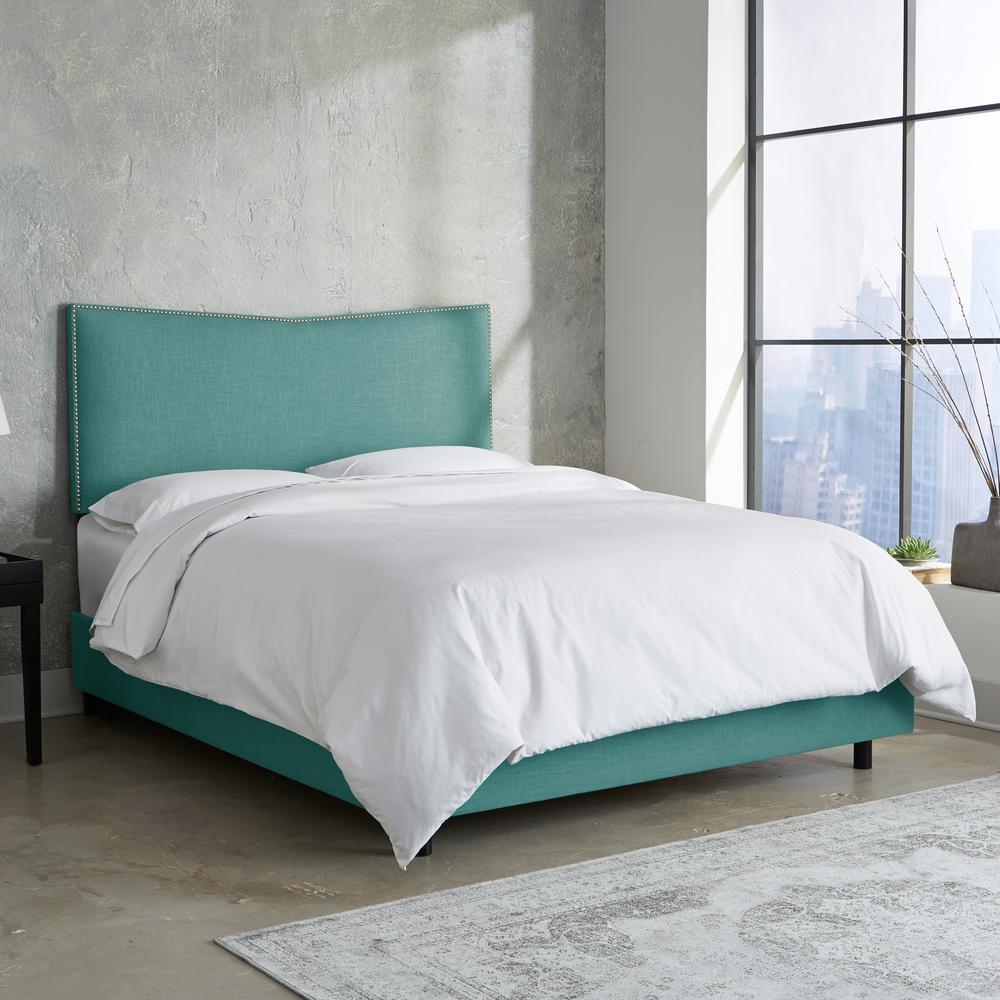 Linen Laguna Queen Nail Button Bed