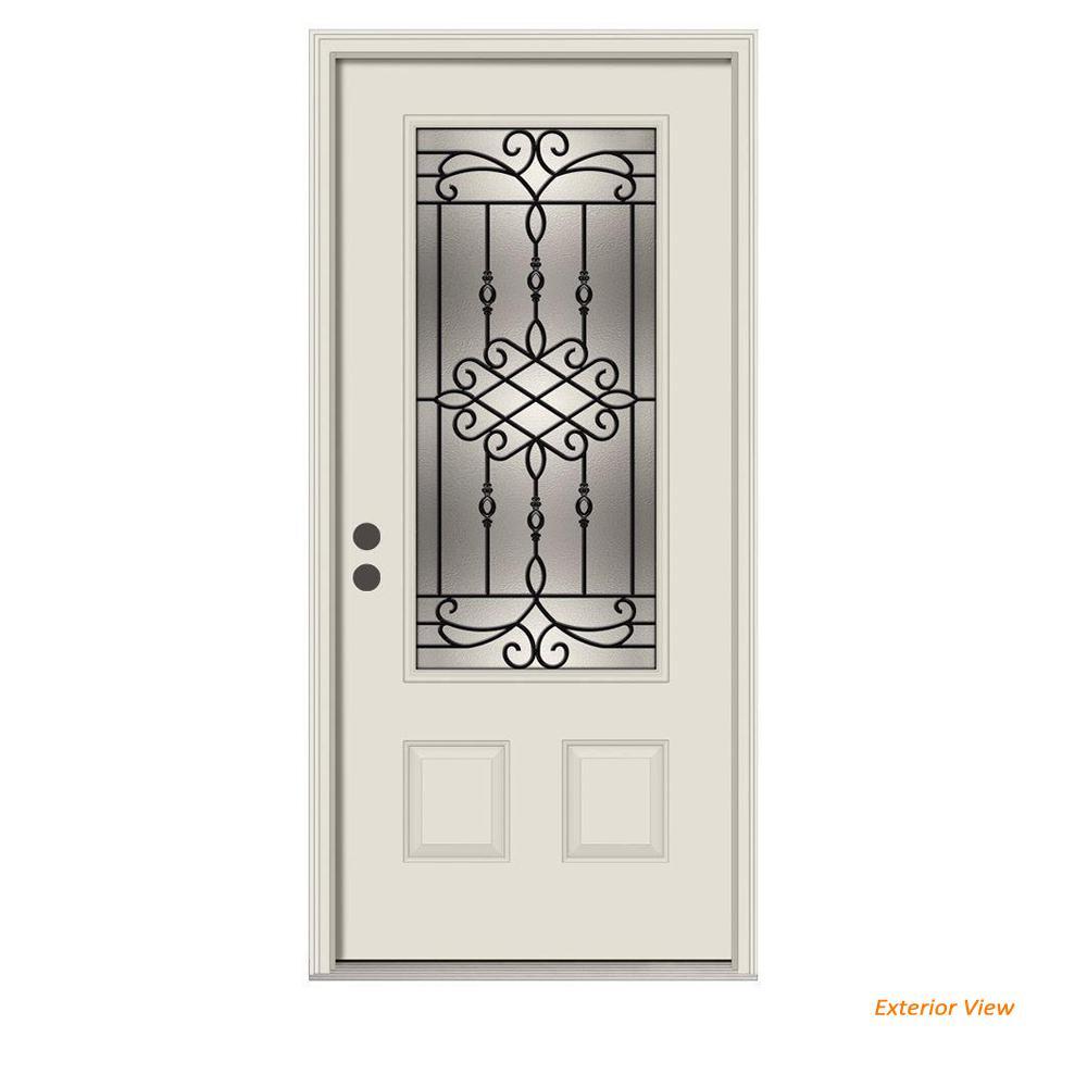 36 in. x 80 in. 3/4 Lite Sanibel Primed Steel Prehung Right-Hand Inswing Front Door w/Brickmould