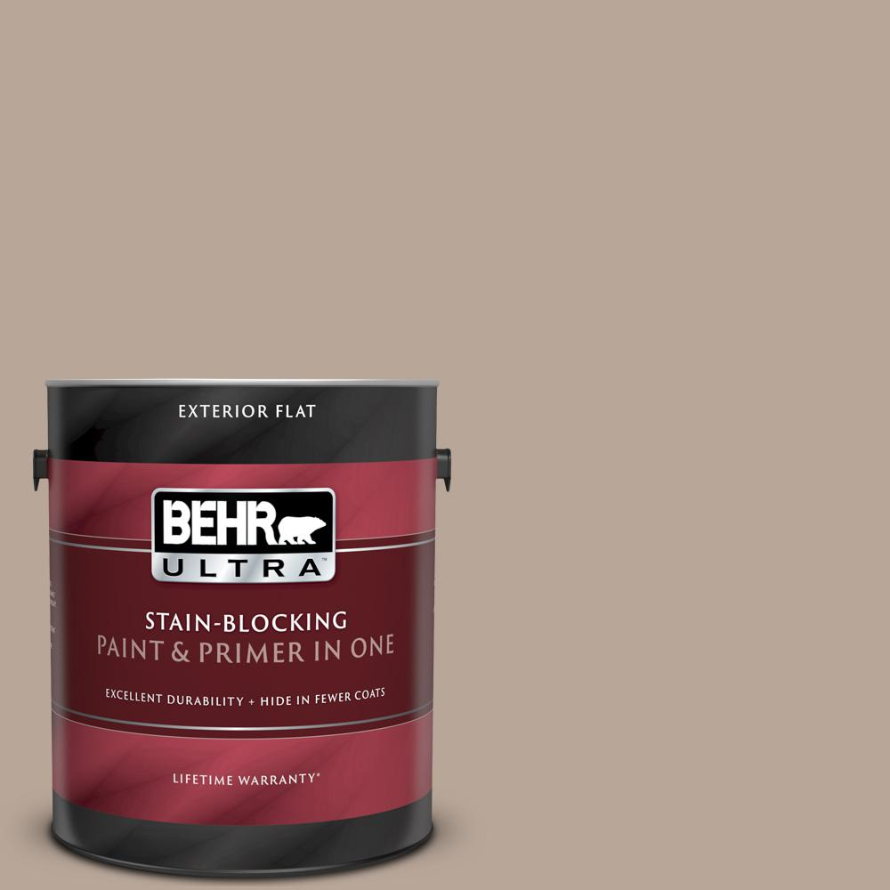 Behr Ultra 1 Gal Bxc 43 Desert Sandstorm Flat Exterior Paint And Primer In One 485401 The Home Depot