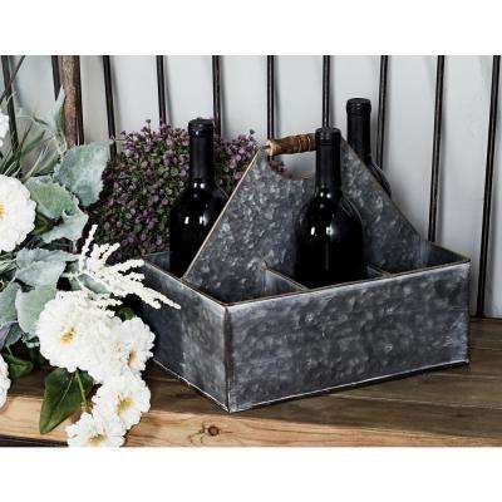 Gray Iron 6-Bottle Wine Caddy