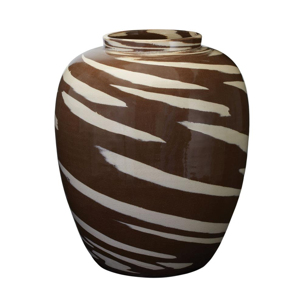 Caramel Tiger 16 in. Earthenware Decorative Vase in Brown