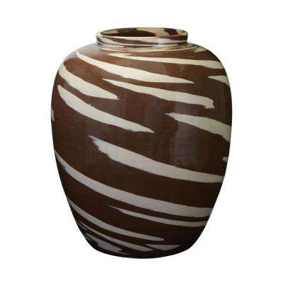 Caramel Tiger 16 in. Earthenware Decorative Vase in Brown