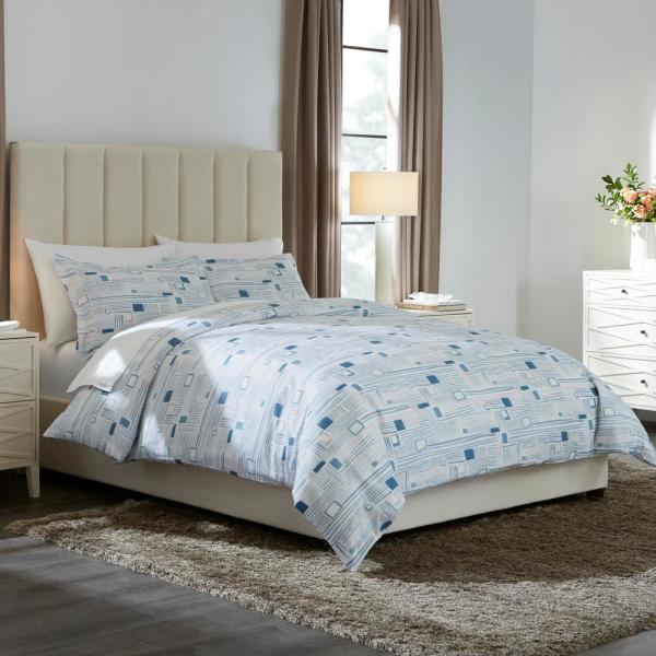 Home Decorators Collection Dagmar 3-Piece Washed Denim Square King Duvet Cover