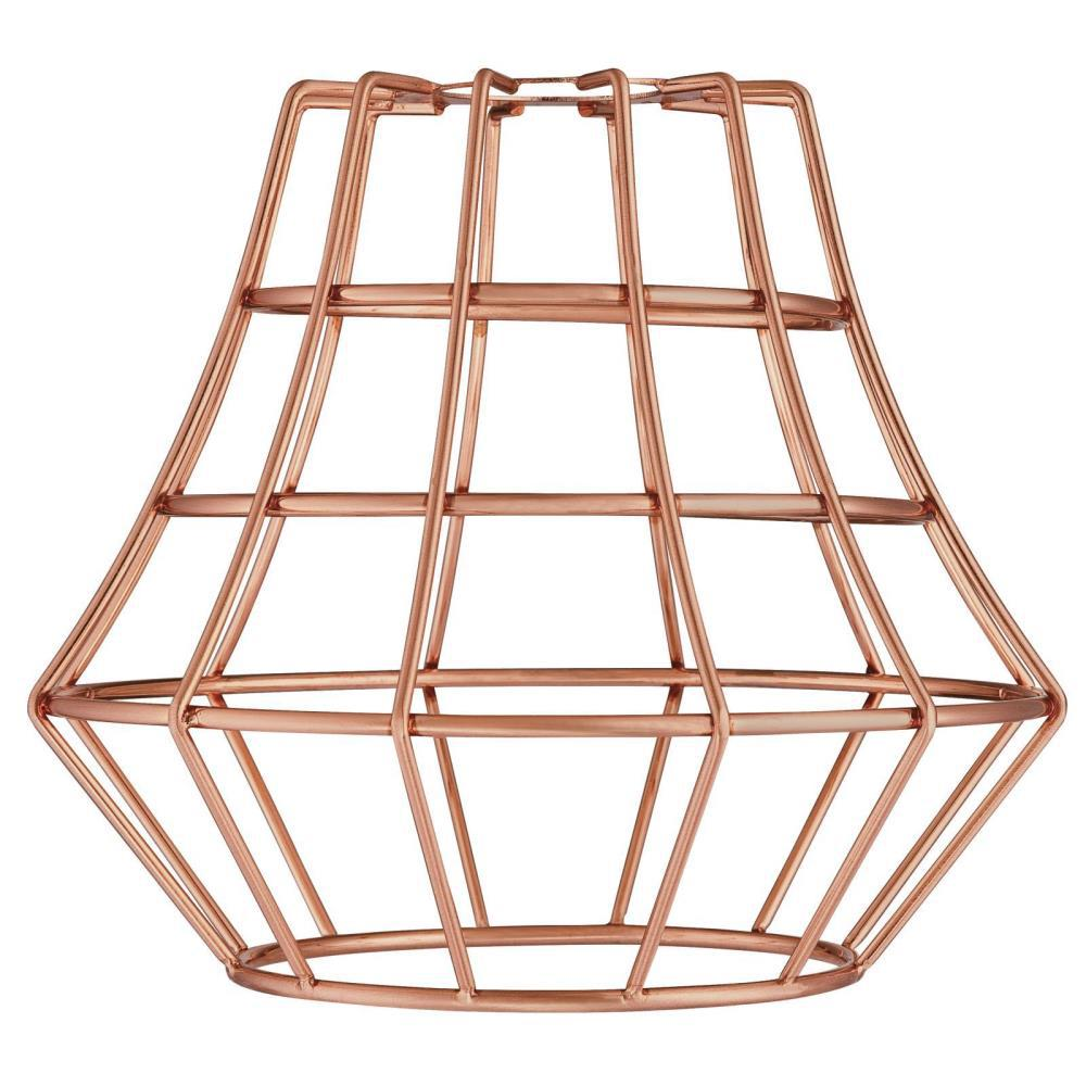 6-1/2 in. Brushed Copper Angled Cage Shade with 2-1/4 in. Fitter