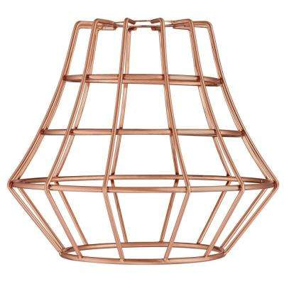 6-1/2 in. Brushed Copper Angled Cage Shade with 2-1/4 in. Fitter and 7-5/8 in. Width