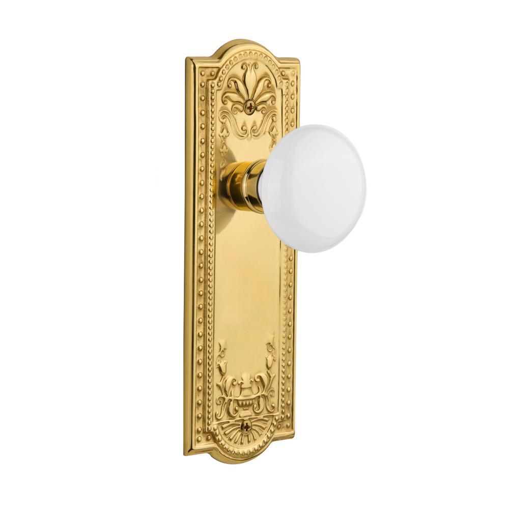 Nostalgic Warehouse Meadows Plate 2-3/8 in. Backset Polished Brass Privacy Bed/Bath White Porcelain Door Knob