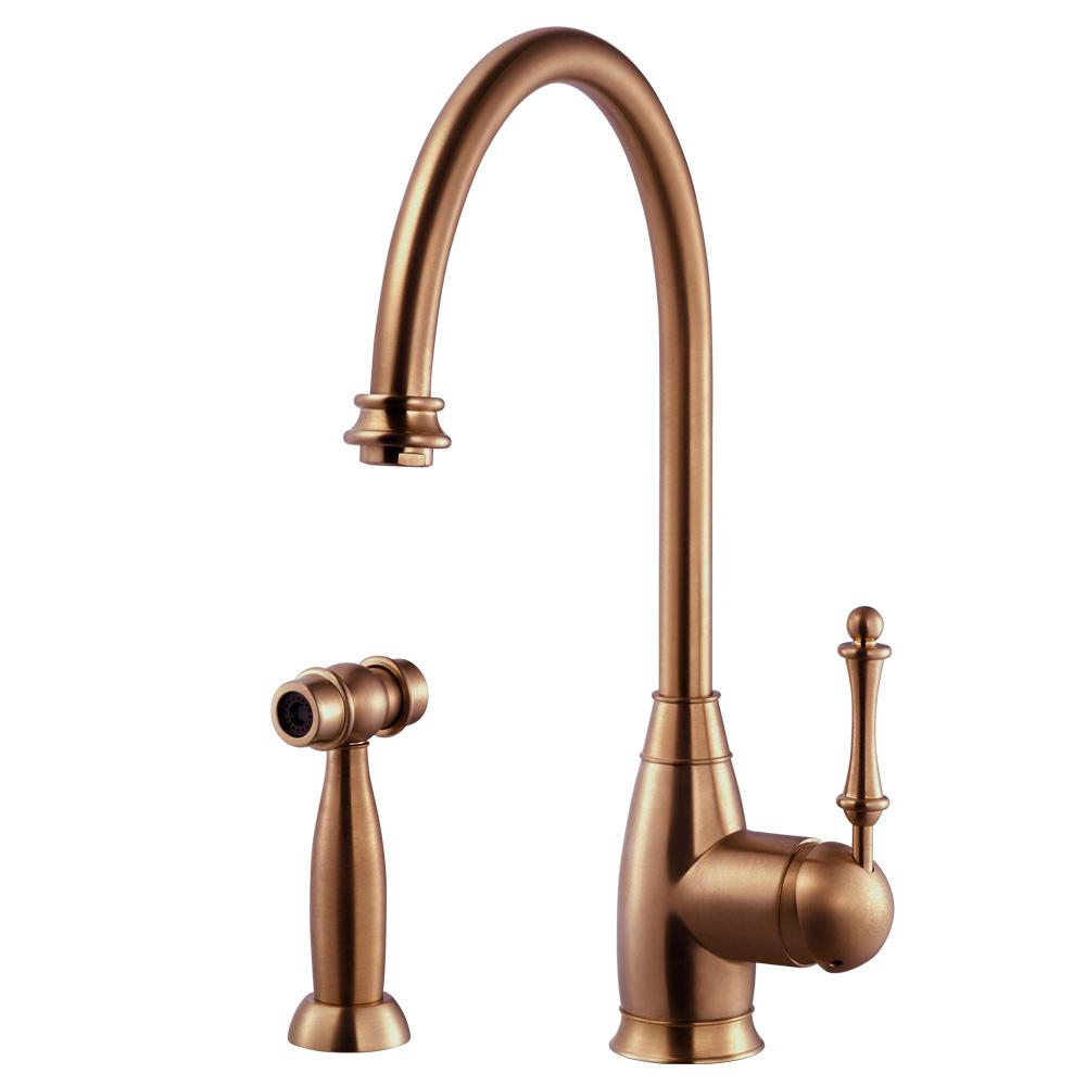 Houzer Charlotte Traditional Single Handle Standard Kitchen Faucet With Sidespray And Ceradox Technology In Antique