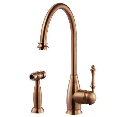 Charlotte Traditional Single-Handle Standard Kitchen Faucet with Sidespray and CeraDox Technology in Antique Copper