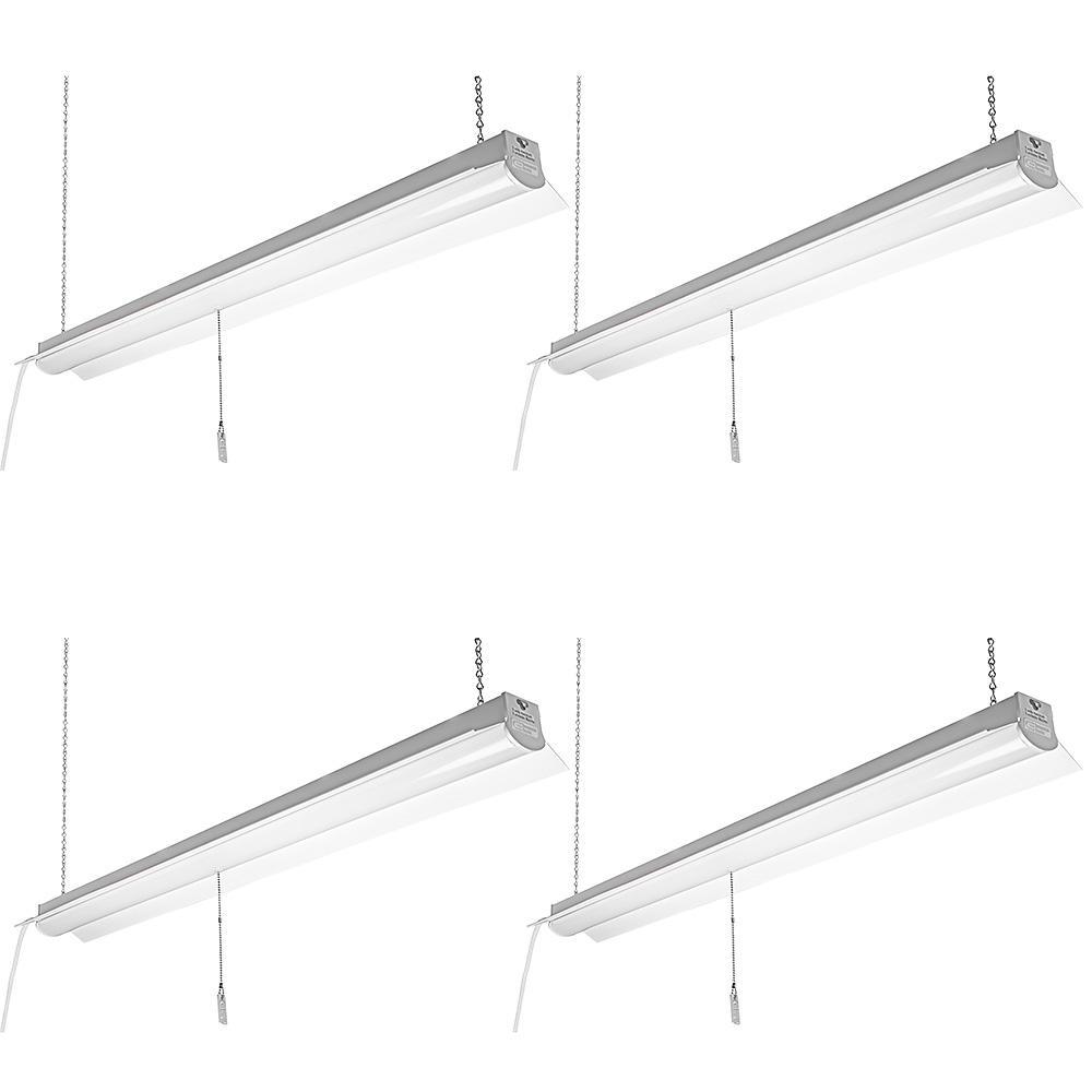 4 ft. 64-Watt Equivalent White Integrated LED Shop Light 4000K Bright White 3200 Lumens Linkable (4 Pack)