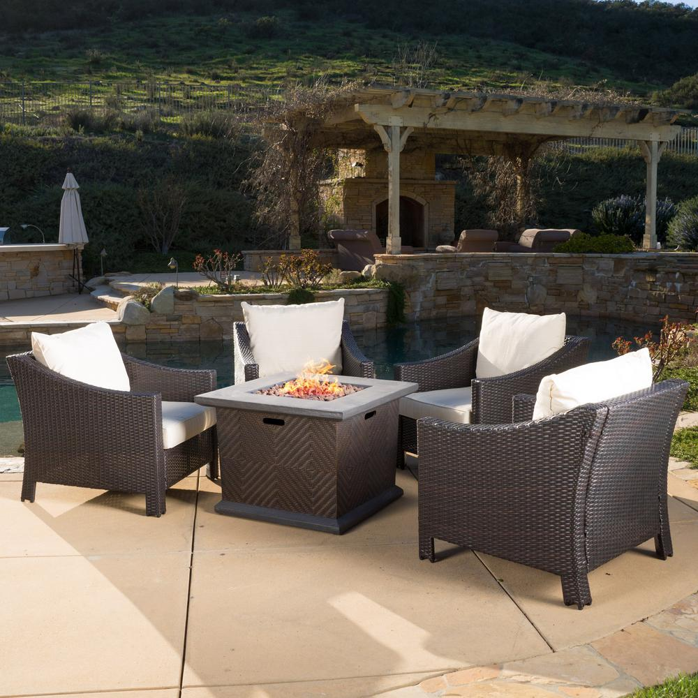Noble House Fire Pit Conversation Set Beige Cushions
