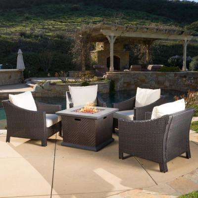 Antibes Brown 5-Piece Patio Fire Pit Conversation Set with Beige Cushions