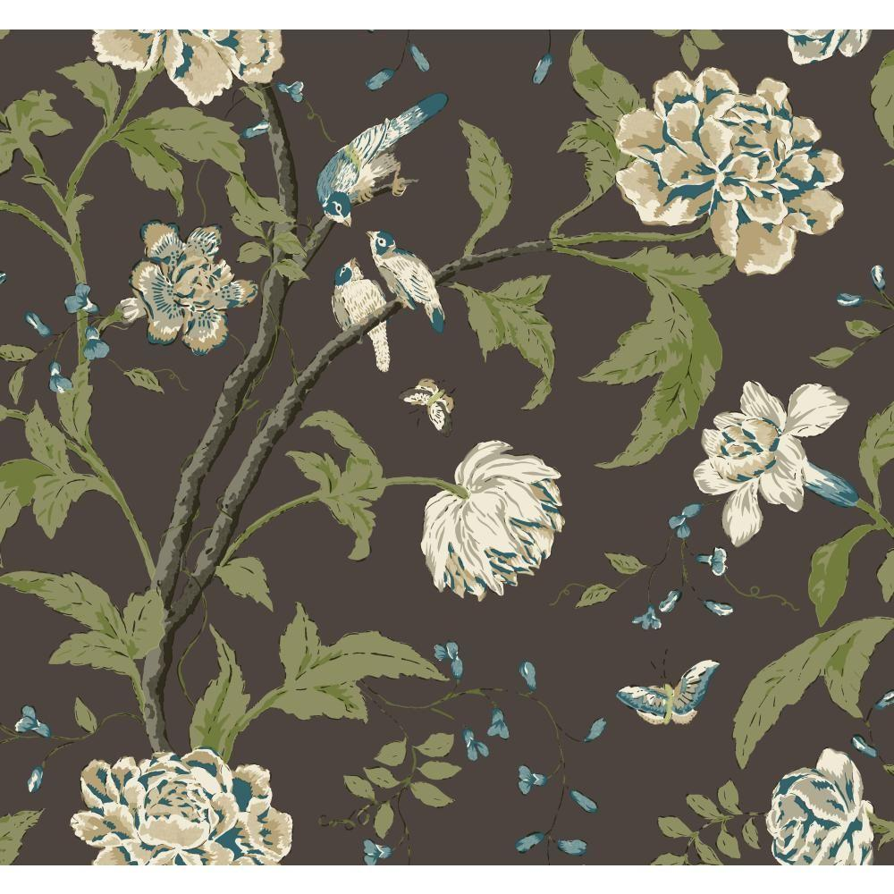 York wallcoverings carey lind vibe teahouse floral - Floral wallpaper home depot ...