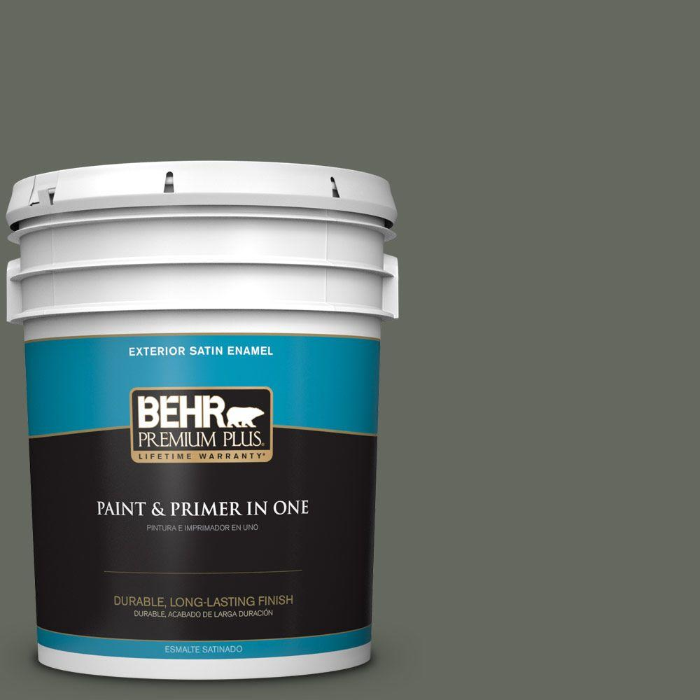 BEHR Premium Plus 5-gal. #ECC-41-3 Laurel Oak Satin Enamel Exterior Paint