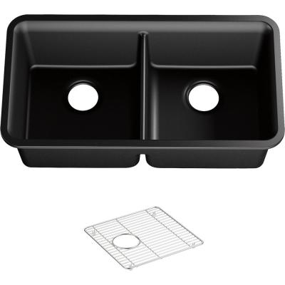 Cairn Undermount Neoroc Granite Composite 33.5 in. Double Bowl Kitchen Sink in Matte Black with Basin Rack