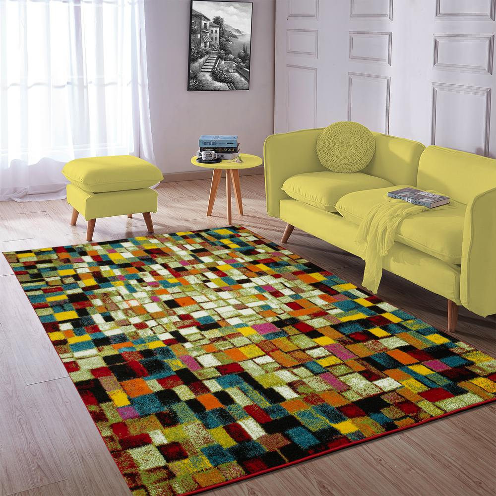 City Collection Multicolor Tiles 5 ft. x 7 ft. Indoor Area Rug
