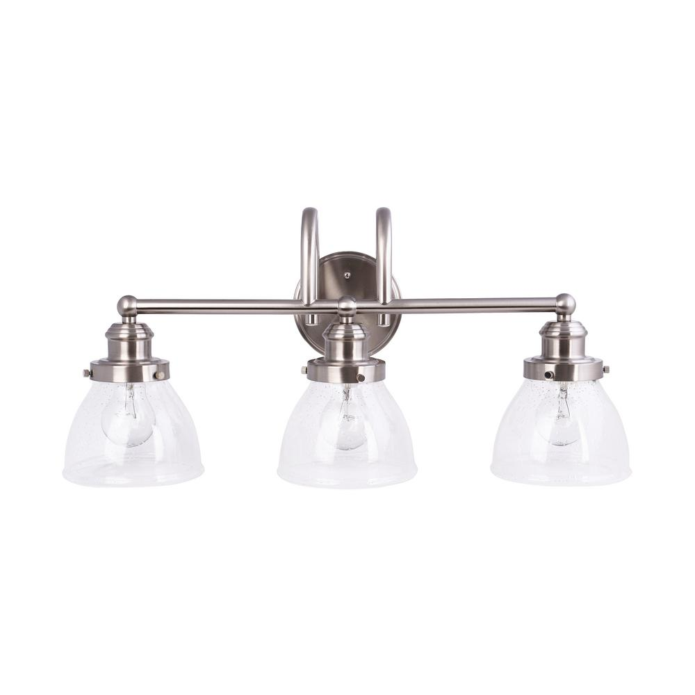bathroom lighting brushed nickel finish hampton bay 3 light brushed nickel vanity light with clear 22181