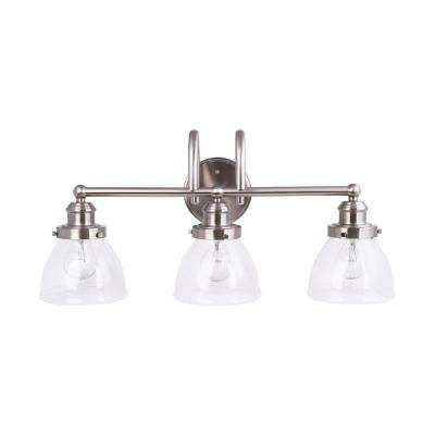 3-Light Brushed Nickel Vanity Light with Clear Seeded Glass Shades