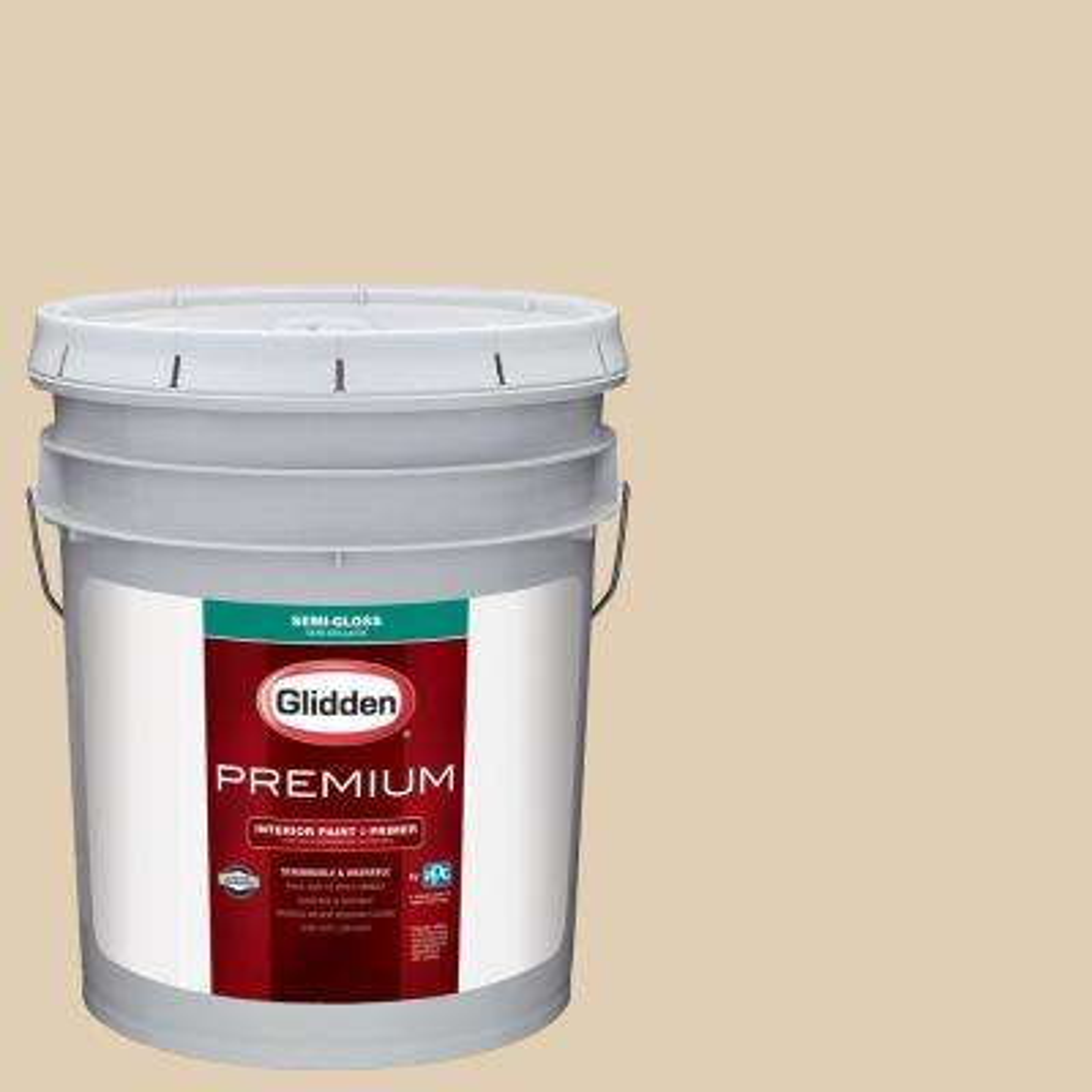 5 gal. #NHL-015A Minnesota Wild Wheat Semi-Gloss Interior Paint with Primer