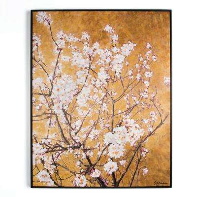 "35 in. x 28 in. ""Oriental Blossom"" Framed Printed Canvas Wall Art"