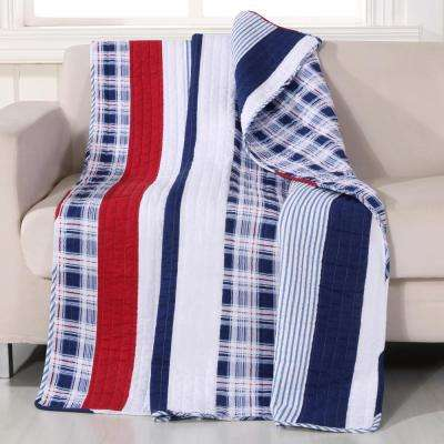 Nautical Stripe Multi Quilted Cotton Throw