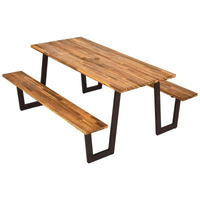Natural Rectangle Wood Picnic Table Dining Table Set with 2 Bench Seats and Umbrella Hole