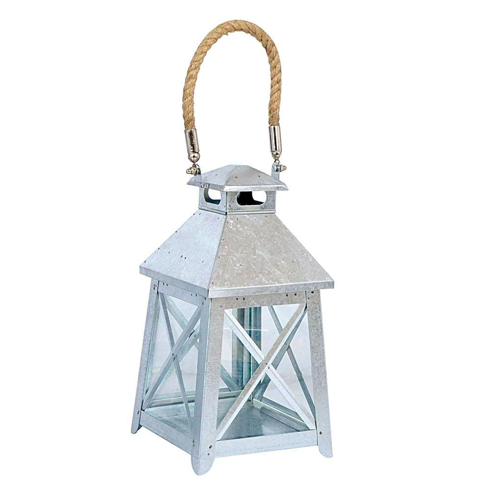 Hampton Bay Tapper Patio Small Lantern with Rope Handle