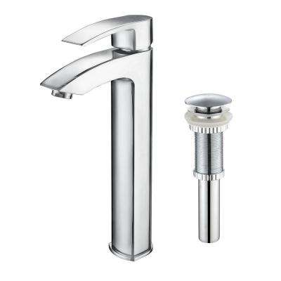 Visio Single Hole Single-Handle Vessel Bathroom Faucet with Pop Up Drain in Chrome