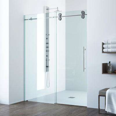 Elan 64 in. x 74 in. Frameless Sliding Shower Door with Handle in Chrome with Clear Glass