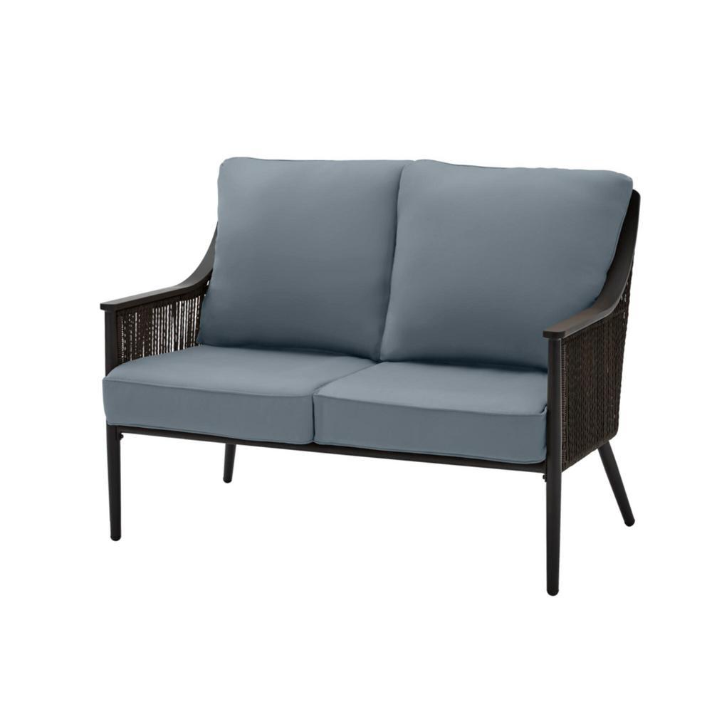 Bayhurst Black Wicker Outdoor Patio Loveseat with Sunbrella Denim Blue Cushions